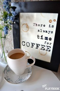 Free Coffee Printables- great for coffee bar :) love the coffee rings Coffee Wine, I Love Coffee, Coffee Art, Coffee Break, My Coffee, Coffee Mugs, Coffee Shops, Coffee Lovers, Black Coffee