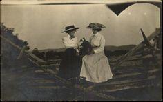 Women on Wooden Fence w Plant & Fancy Hats c1910 Photo RPPC