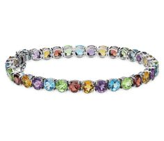 Blue Nile Multicolor Gemstone Bracelet in Sterling Silver #fashion #jewelry