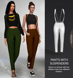 * Good Girl Pants and Shirt - New meshes!A pants and shirt set that can easily be worn on their own. The top is a crop top with loosely hanging ¾ sleeves and the pants are semi loose high waisted with...