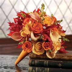 Oranges Roses, Fall Leaves and Mini Calla Lily Bridal Bouquet