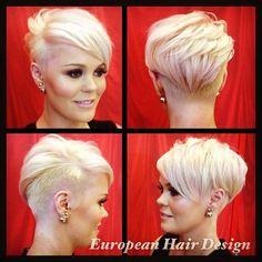 Ideas Hair Pink Blonde Pixie Cuts For 2020 Funky Short Hair, Short Blonde, Short Hair Cuts, Trendy Hair, Pixie Cut Blond, Short Pixie, Pixie Cuts, Shaved Pixie Cut, Asymmetrical Pixie