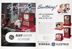 1950 General Electric Black Daylite Television original vintage advertisement. With the new GE Rectangular black tubes that show all big as life! You can put your confidence in General Electric. Televisions priced from $199.95.