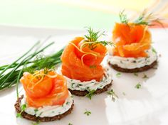 Smoked salmon and cream cheese canapes - great for Christmas or dinner parties