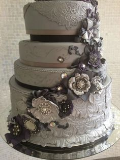 Beautiful Cake Pictures: Elaborately Ornate Grey Wedding Cake Picture: Elegant Cakes, Wedding Cakes