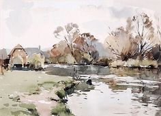 DDS. Edward Wesson (1910-1983), A river landscape, Watercolour, Signed lower left, 32 x 45cm (12 1/2 x 17 3/4in)