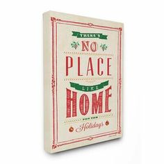 2204b0b5244f Stupell No Place Like Home for the Holidays Typography Art 16 x 20 Canvas  #fashion