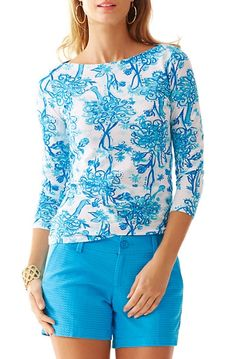 Lilly Pulitzer Andie Printed Boatneck Top in Resort White/Blue Back It Up