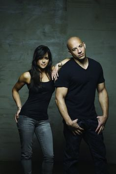 Beautiful Michelle Rodriguez and handsome Vin Diesel ~ Letty Ortiz & Dom Toretto