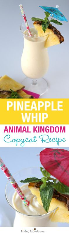 A delicious and simple copycat recipe for a Disney's Animal Kingdom Pineapple Dole Whip with rum! Frozen Pineapple Whip is made with coconut ice cream. Such a great summer cocktail with rum. Pineapple Cocktail, Frozen Pineapple, Pineapple Upside, Pineapple Juice, Fun Drinks, Yummy Drinks, Yummy Food, Beverages, Drinks With Rum