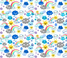 [Kids PJs] happy weather fabric by berrysprite on Spoonflower - custom fabric Fabric Patterns, Print Patterns, Paper Scrapbook, Rainbow Quilt, Cool Fabric, Fabric Shop, Spoonflower Fabric, Kids Prints, Textiles