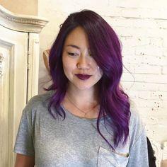 Long Asymmetrical Purple Bob