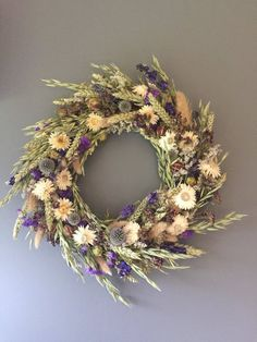 Dried flower wreath Blue and white flower wall decor blue Dried Flower Wreaths, Lavender Wreath, Dried Flower Bouquet, Dried Flowers, White Flowers, White Wreath, Diy Wreath, Floral Wreath, Wreaths