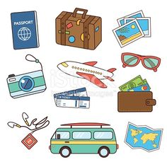 Travel icons in doodle style. Vector travel line style icons. Isolated on white background. Journal Stickers, Planner Stickers, Travel Doodles, Travel Clipart, Kawaii Doodles, Travel Icon, Travel Illustration, Butterfly Wallpaper, Scrapbook Journal