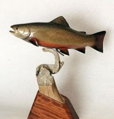 Brook Trout Carving by Ron Bailey Picts, Trout, Carving, Fish, Colors, Wood Carvings, Sculpting, Colour, Brown Trout