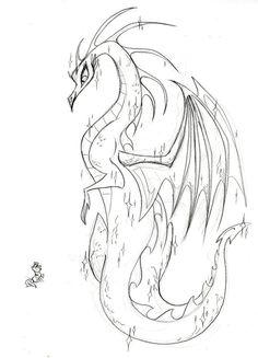 #12606 - artist:fyre-flye, artist:lauren faust, behind the scenes, concept art, dragon, female dragon, lineart, oc, safe, sketch, twilight s...