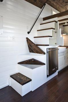 Tiny house storage staircase. Bottom three steps are storage!