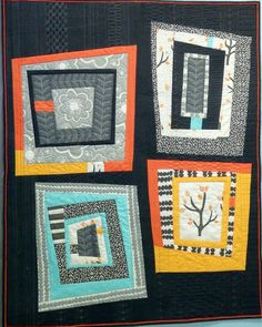 Bird's Modern Log Cabin by Candyce Grisham   ICandyQuilts.  Started in an improv quilt class with Jacquie Gering.
