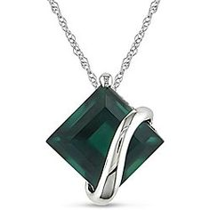 @Overstock - This elegant pendant features a lush green created emerald in a unique asymmetrical settingDiamond-shape pendant offers a highly fashionable element to any outfitJewelry glistens in 10-karat white goldhttp://www.overstock.com/Jewelry-Watches/10k-White-Gold-Created-Emerald-Necklace/4509553/product.html?CID=214117 $87.74