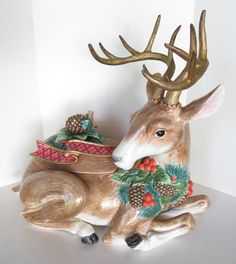 RARE Retired Fitz and Floyd Large Christmas Reindeer Soup Tureen | eBay