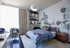 pokój dla nastolatka / dziecka sportowca, szary, niebieski, mural na ścianie młodzieżowy, szare zasłony, duże okna, duże łóżko children's room furniture & interior design inspiration