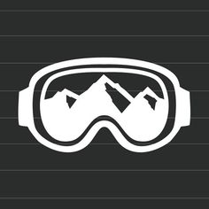 Winter Sport Goggles with Mountain Views - Vinyl Decal Sticker - Choose Your Own Color - Great for Cars, Phones, Laptops, and Tablets