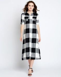 in casual designs, so it will be much easier for you to team them with simple kicks. I think such Summer look is a perfect combination for hot days, when you want to feel comfortable and relaxed. Best Casual Dresses, Short Sleeve Dresses, Dresses For Work, Midi Shirt Dress, Black Midi Dress, Midi Dresses, Wrap Front Dress, Tartan Dress, Buy Shirts