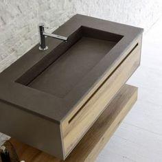 Mobile con lavabo integrato e colonna specchiata Sky Rovere Antico Arbi - particolare lavabo