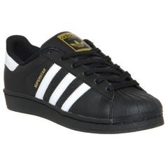 buy online bd2bd b1ef0 Adidas Superstar GS Black White Foundation - Hers trainers