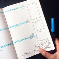 Bullet journal weekly layout, highlighted date headers, unique date headers, snowflake drawings, leaf doodles, snowflake doodles. @tashletters