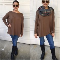 2 leftDolman tops Loose fit long sleeve piko tops in taupe. Made of heavyweight rayon spandex jersey.                                                               Please do not purchase this listing. Comment with size/color and I will create a new listing for you. S/M (0-6) M/L (8/12) Price is firm unless bundled. Tops