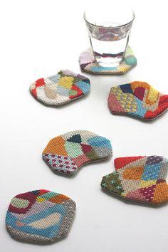 freeform embroidered coasters