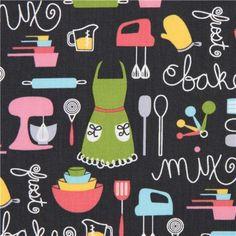dark grey apron and kitchen utensils fabric Robert Kaufman