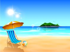 Summer holiday beach creative background vecor free vector in adobe Farm Cartoon, Beach Cartoon, Family Beach Pictures, Summer Pictures, Creative Background, Vector Background, Craft Images, Sunset Sky, Backgrounds Free