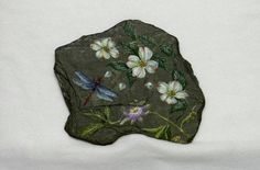"""Items similar to Original Acrylic Dragonfly and Passion Flower Painting """"Serenity"""" on New York Slate on Etsy Dragonfly Painting, Pebble Painting, Stone Painting, Rock Painting, Painted Slate, Painted Pebbles, Painted Stones, Hand Painted, Slate Art"""
