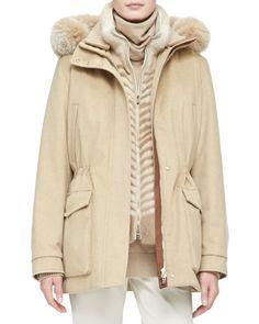 Loro Piana Cashmere Storm Jacket with Fox Fur Hood e1eadc21ab10
