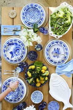 Into the blue: Aerin Lauder collaborates with Williams Sonoma on a beautiful blue tablescape