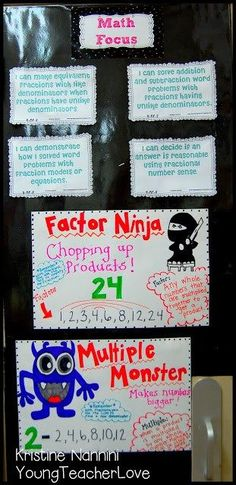 Factor Ninja and Multiple Monster! Great visuals for studying factors and multiples! Young Teacher Love by Kristine Nannini Math Strategies, Math Resources, Math Activities, School Resources, Subtraction Activities, Educational Activities, Math Focus Walls, Factors And Multiples, Just In Case
