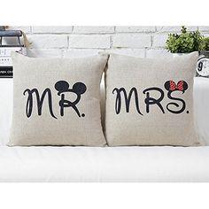 Luxbon 2er Set ( Mr & Mrs) Kissenbezug Pillowcase Haus Cafe Auto Liebhaber Hochzeit Deko Valentinstag Geschenk 45 x 45 cm