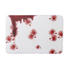 Halloween   Dripping Blood Splatters Pattern Bathroom Mat