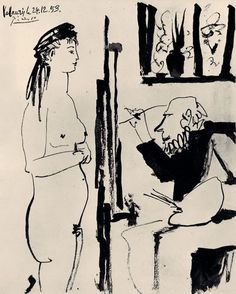 """kundst: """"Pablo Picasso (Es. 1884-1973) Artist and Model (1953) Pen and brush with ink on paper """""""