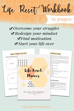 Get your life together and start over using this life reset planner workbook. It covers all areas of your life. This is the perfect solution for your life redesign project. Positive Energy Quotes, Positive Affirmations Quotes, Affirmation Quotes, Self Growth Quotes, Deeper Life, Feeling Hopeless, Get Your Life, Care Quotes, Journal Prompts