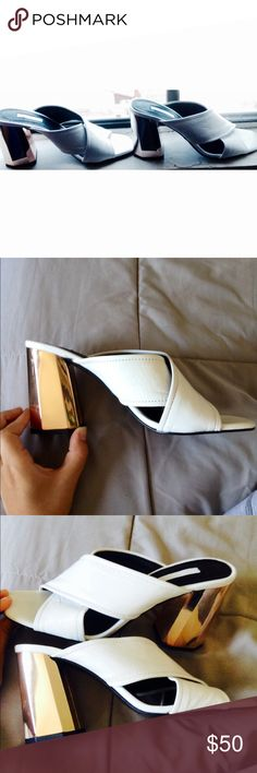 Top Shop White Criss Cross Sandals Edgy metallic chunky heel, heel height approximately 3 inches, super comfortable. NWT. tags fading under sandal. Size 8.5 they don't fit me. Topshop Shoes
