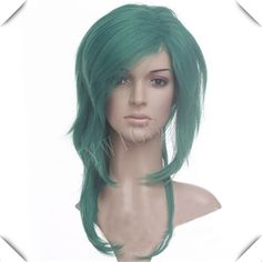 Green Medium Long Synthetic Women  Wig Sexy Costume For Lady Heat Resistant Hair Anime Party Cosplay