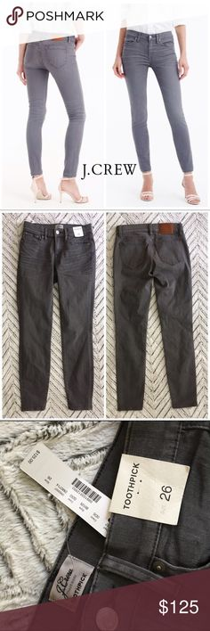 """NWT J Crew 8"""" Toothpick Jean in Gray, 26 Our skinniest style, the toothpick is lean, cropped and a little bit sexy. These jeans are made from a high-tech Turkish cotton with stretch woven into it for a super-flattering fit. New with Tags. Label marked through.  Cotton with stretch. Traditional 5-pocket styling. Sits at hip. Midrise. Fitted through hip and thigh, with a superskinny, ankle-length leg. Front rise: 8 3/4"""". 28"""" inseam. J. Crew Jeans Skinny"""