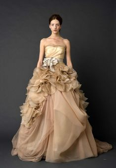 Another version of the design I'm aiming for.    Here's a gorgeous Vera Wang dress in latte colors.    *seriously considering latte for a wedding theme*