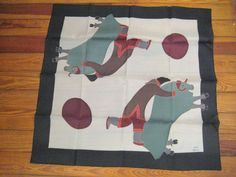 Kayak Inuit Handpainted Silk Scarf  New old stock #kayak #Scarf