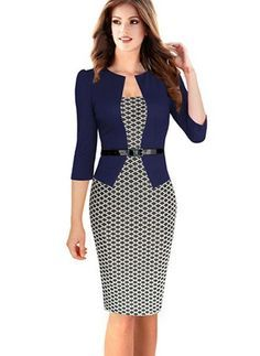 Cheap pencil image, Buy Quality pencil dress pattern directly from China pencil dress Suppliers: Women One-Piece Faux Jacket 2017 Bodycon Women Fashion Sheath Dress Office Lady Patchwork Tunic Knee Length Work Pencil Dresses Patterned Work Dresses, Office Dresses, Dresses For Work, Business Dress, Business Suits, Business Casual, Dress Outfits, Fashion Dresses, Faux Jacket