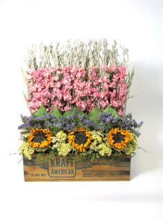 Dried Floral Arrangement, Stacked Flower Arrangement - <3