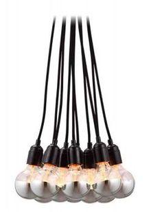 Bosonic Ceiling Pendant: 10 chrome plated 25watt bulbs hung by a black braided cord. #Lighting #Ceiling_Lamp #Bosonic